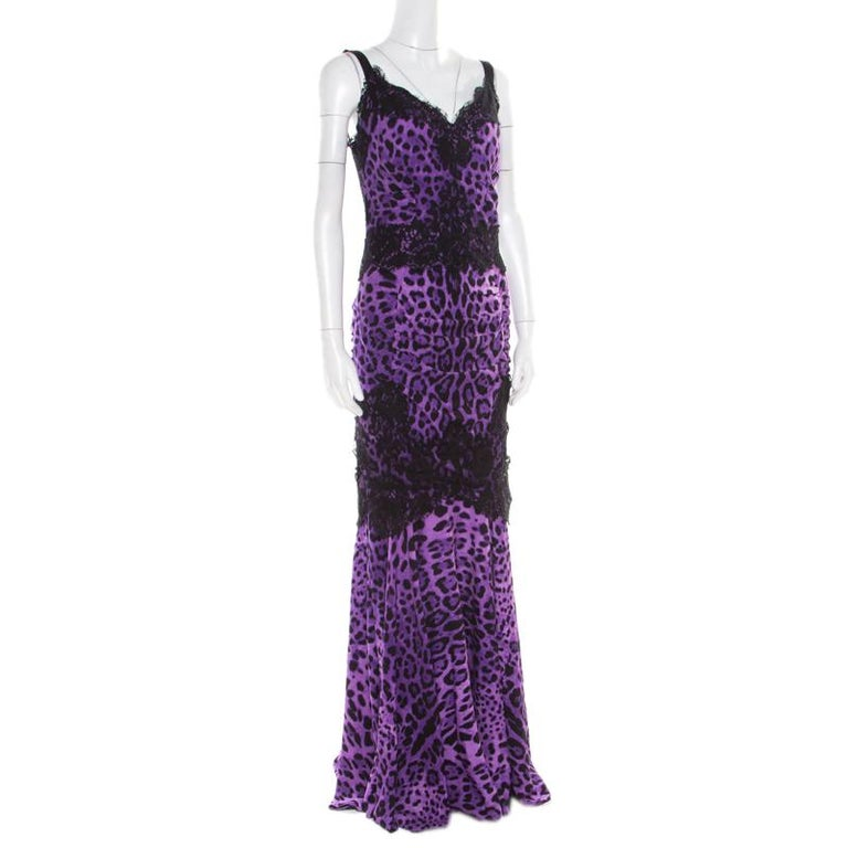 Dolce and Gabbana Purple Leopard Printed Silk Lace Trim Ruched Maxi Dress M In Good Condition For Sale In Dubai, Al Qouz 2