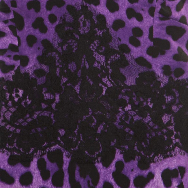 Women's Dolce and Gabbana Purple Leopard Printed Silk Lace Trim Ruched Maxi Dress M For Sale