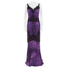 Dolce and Gabbana Purple Leopard Printed Silk Lace Trim Ruched Maxi Dress M