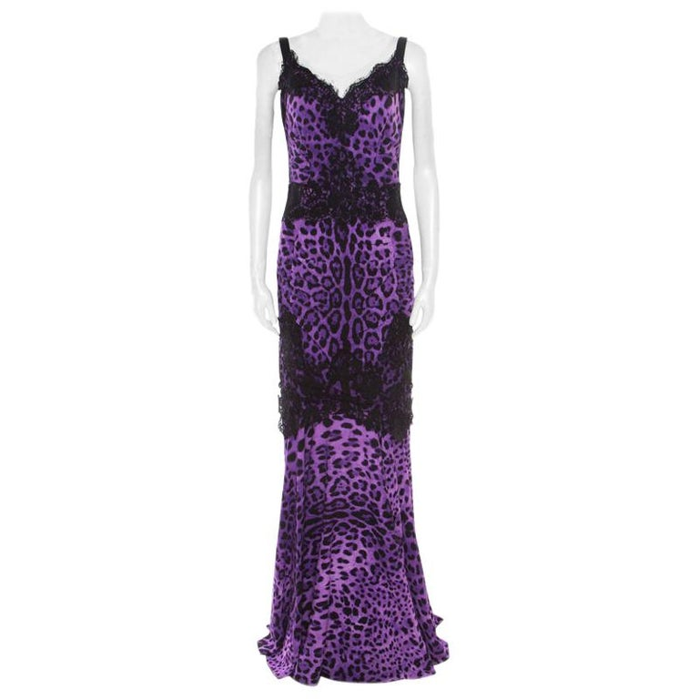 Dolce and Gabbana Purple Leopard Printed Silk Lace Trim Ruched Maxi Dress M For Sale