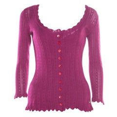 Dolce and Gabbana Purple Perforated Knit Sleeveless Top and Cardigan Set L