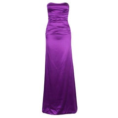 Dolce and Gabbana Purple Satin Evening Gown S