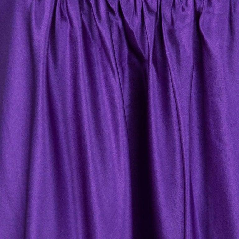 Women's Dolce and Gabbana Purple Silk Satin Sleeveless Balloon Dress S For Sale