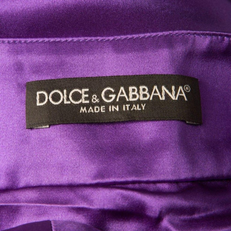 Dolce and Gabbana Purple Silk Satin Sleeveless Balloon Dress S For Sale 1
