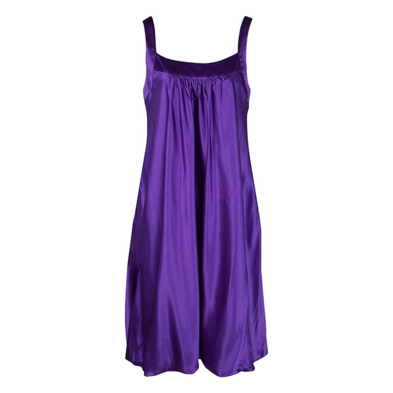 Dolce and Gabbana Purple Silk Satin Sleeveless Balloon Dress S For Sale