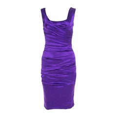 Dolce and Gabbana Purple Stretch Satin Ruched Sleeveless Dress S