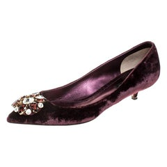 Dolce and Gabbana Purple Velvet Crystal Embellished Bellucci Pumps Size 38