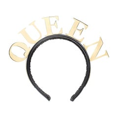 Dolce and Gabbana Queen Gold Tone Black Satin Headband