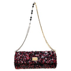 Dolce and Gabbana Red/Black Sequin Miss Charles Shoulder Bag