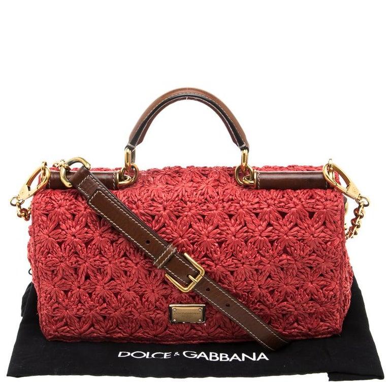 Dolce and Gabbana Red Crochet Raffia Miss Sicily Shoulder Bag For Sale 7