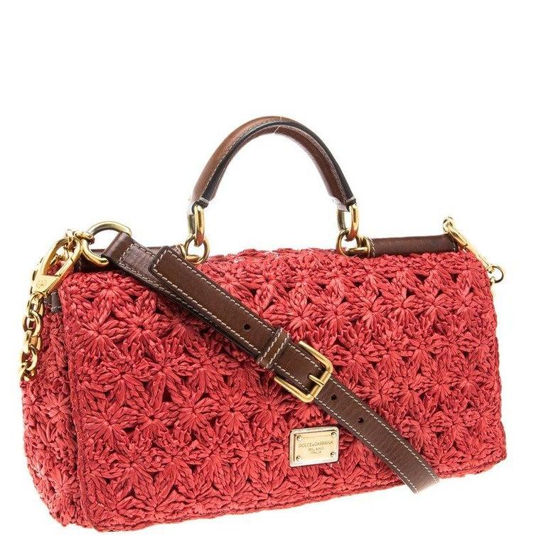 Women's Dolce and Gabbana Red Crochet Raffia Miss Sicily Shoulder Bag For Sale