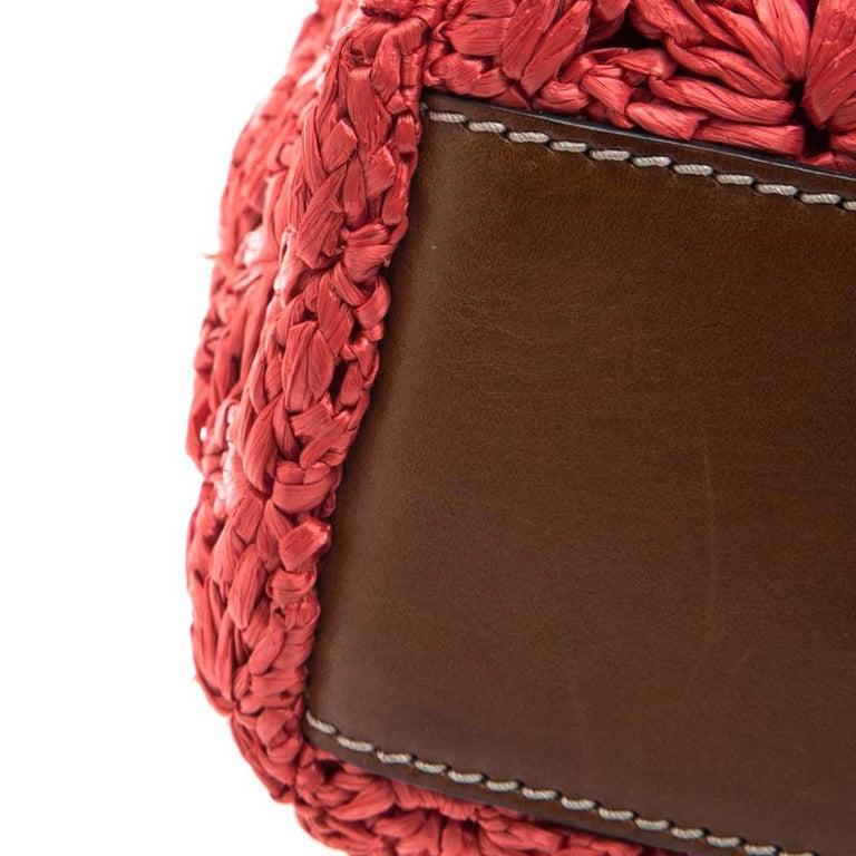 Dolce and Gabbana Red Crochet Raffia Miss Sicily Shoulder Bag For Sale 1
