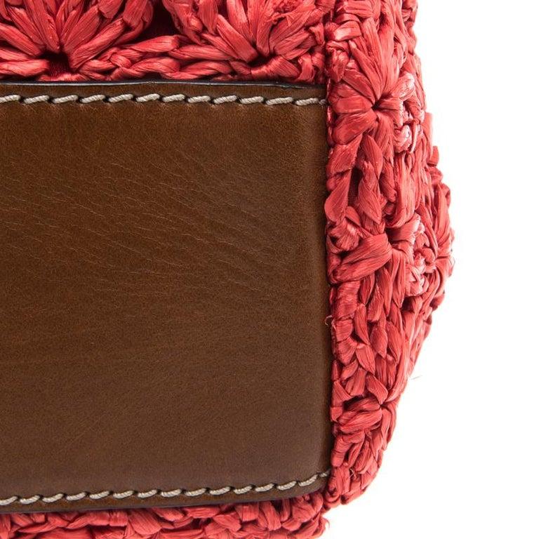 Dolce and Gabbana Red Crochet Raffia Miss Sicily Shoulder Bag For Sale 2