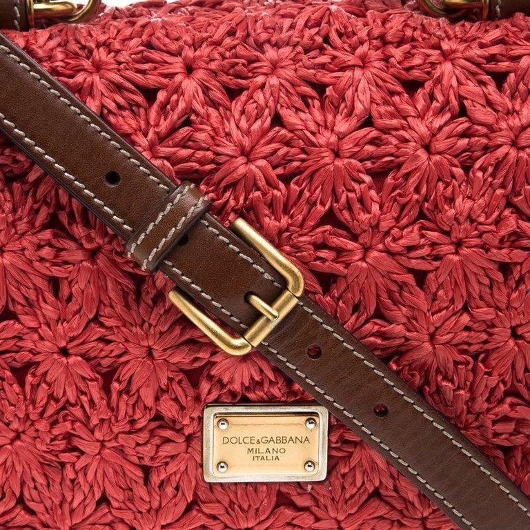 Dolce and Gabbana Red Crochet Raffia Miss Sicily Shoulder Bag For Sale 3