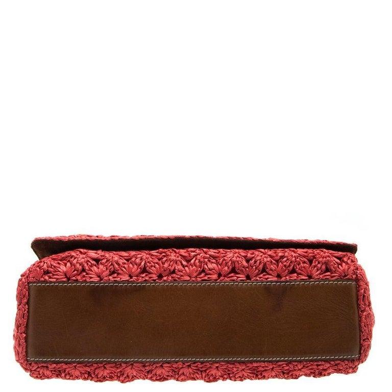 Dolce and Gabbana Red Crochet Raffia Miss Sicily Shoulder Bag For Sale 4