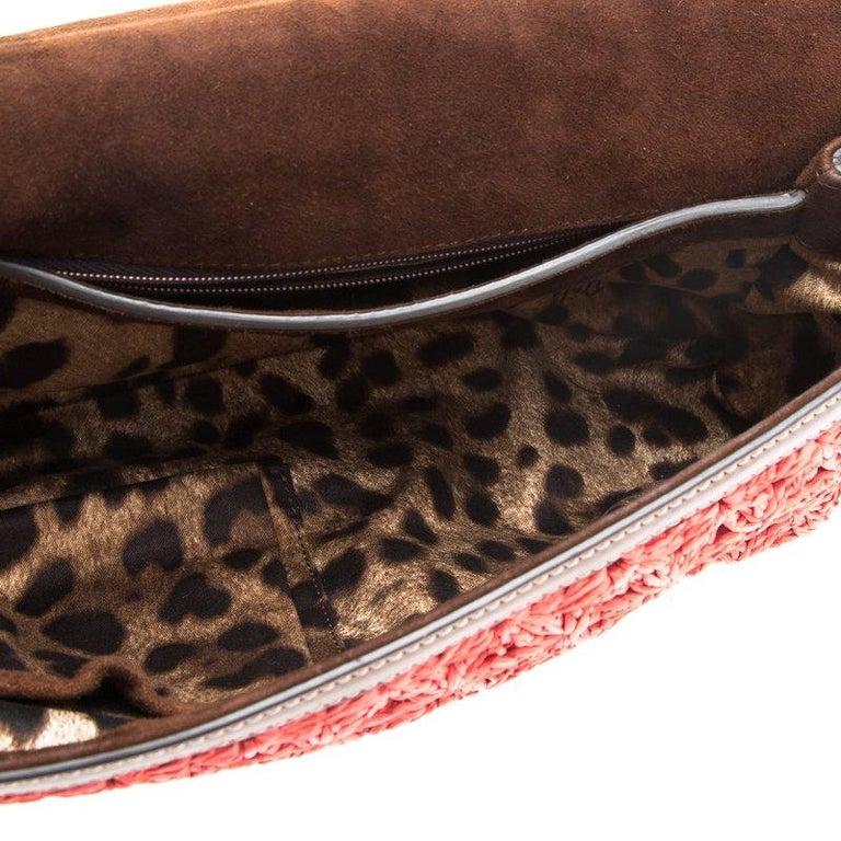 Dolce and Gabbana Red Crochet Raffia Miss Sicily Shoulder Bag For Sale 5