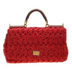 Dolce and Gabbana Red Crochet Raffia Miss Sicily Shoulder Bag