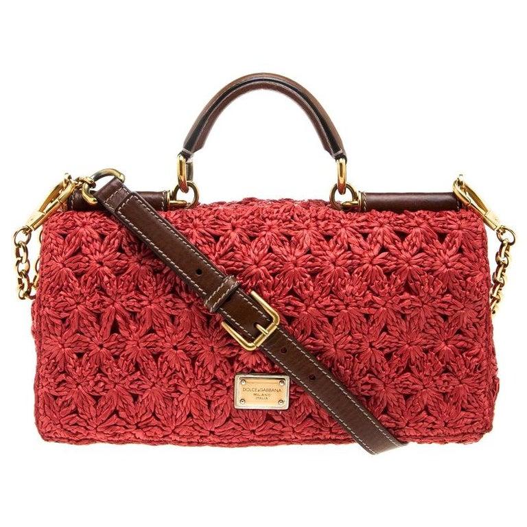 Dolce and Gabbana Red Crochet Raffia Miss Sicily Shoulder Bag For Sale