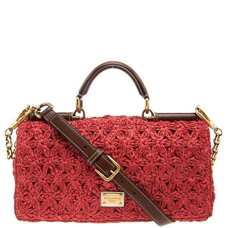 348d1f4cc59 Dolce and Gabbana Red Crochet Raffia Miss Sicily Shoulder Bag For Sale