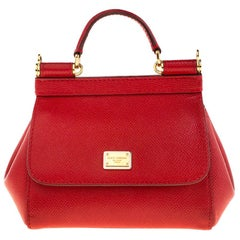 Dolce And Gabbana Red Dauphine Leather Mini Miss Sicily Crossbody Bag