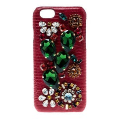 Dolce and Gabbana Red Floral Crystal Embellished iPhone 6 Case