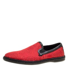 Dolce and Gabbana Red Floral Jacquard Fabric Espadrille Loafers Size 40