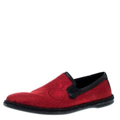 Dolce and Gabbana Red Floral Jacquard Fabric Espadrille Loafers Size 44
