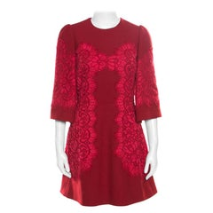 Dolce and Gabbana Red Floral Lace Applique Detail Fit and Flare Dress S