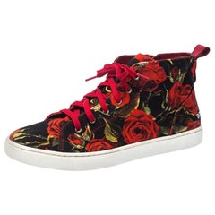 Dolce and Gabbana Red Floral Print Canvas High Top Sneakers Size 40