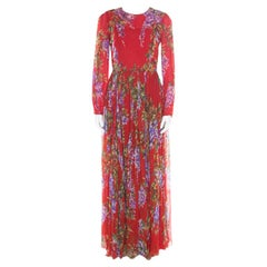 Dolce and Gabbana Red Floral Printed Silk Long Sleeve Maxi Dress M