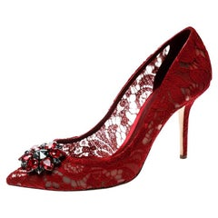 Dolce and Gabbana Red Lace Crystal Embellished Pointed Toe Pumps Size 40.5