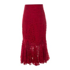 Dolce and Gabbana Red Lace Ruffled Skirt S