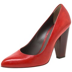 Dolce and Gabbana Red Leather Block Heel Pumps Size 38
