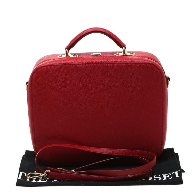 Dolce and Gabbana Red Leather Case Top Handle Bag For Sale 7