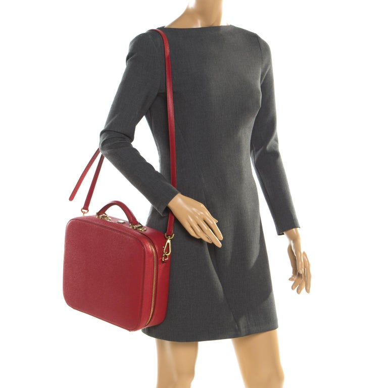 Dolce and Gabbana Red Leather Case Top Handle Bag In Good Condition For Sale In Dubai, Al Qouz 2