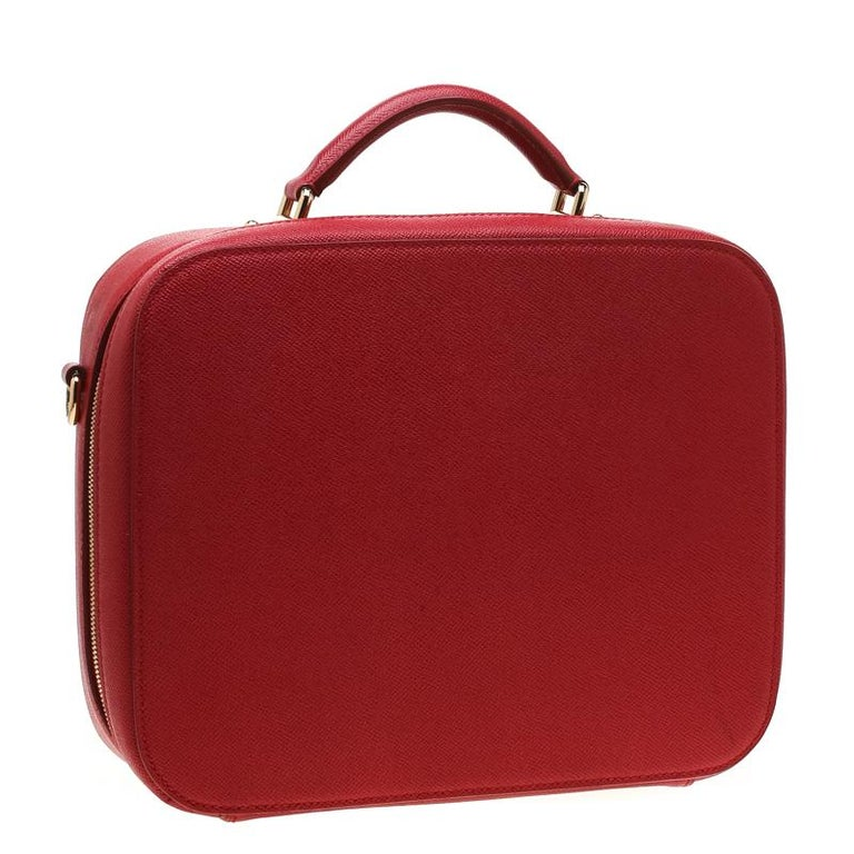 Women's Dolce and Gabbana Red Leather Case Top Handle Bag For Sale