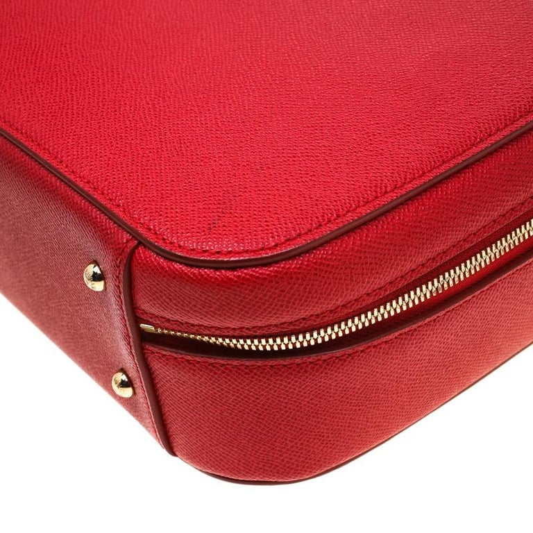 Dolce and Gabbana Red Leather Case Top Handle Bag For Sale 3