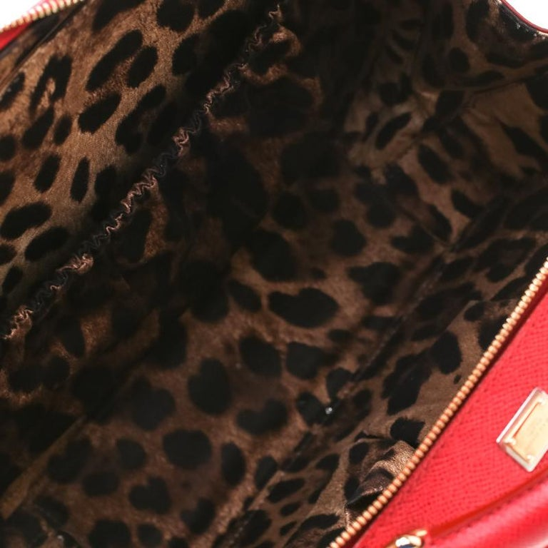 Dolce and Gabbana Red Leather Case Top Handle Bag For Sale 5