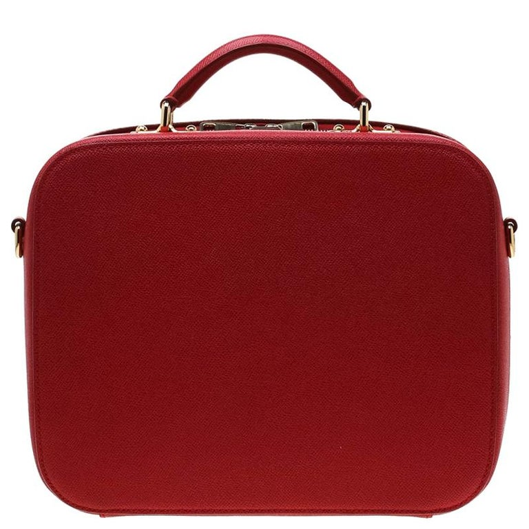 Dolce and Gabbana Red Leather Case Top Handle Bag For Sale