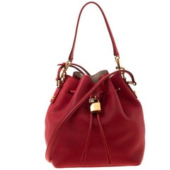 Dolce and Gabbana Red Leather Claudia Drawstring Bucket Bag