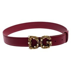 Dolce and Gabbana Red Leather DG Amore Belt 80CM