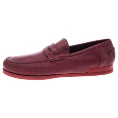 Dolce and Gabbana Red Leather Genova Loafers Size 43