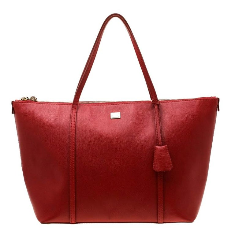 Dolce and Gabbana Red Leather Miss Escape Tote For Sale