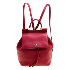 Dolce and Gabbana Red Leather Sicily Backpack