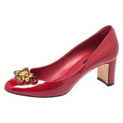 Dolce and Gabbana Red Patent Leather Crystal Embellished Pumps Size 38