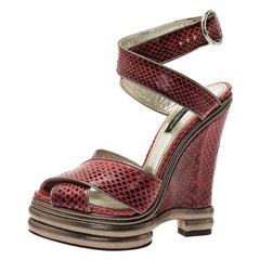 Dolce and Gabbana Red Watersnake Criss Cross Wedge Platform Sandals Size 36.5