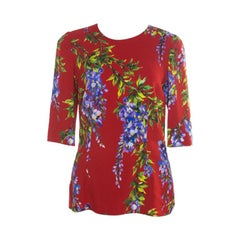 Dolce and Gabbana Red Wisteria Floral Print Short Sleeve Top M