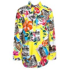 Dolce and Gabbana Saluti Da Palermo Printed Cotton Oversized Shirt M