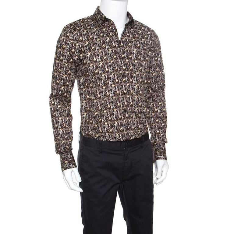 Gray Dolce and Gabbana Sicilia Brown Key Printed Long Sleeve Button Front Shirt L For Sale