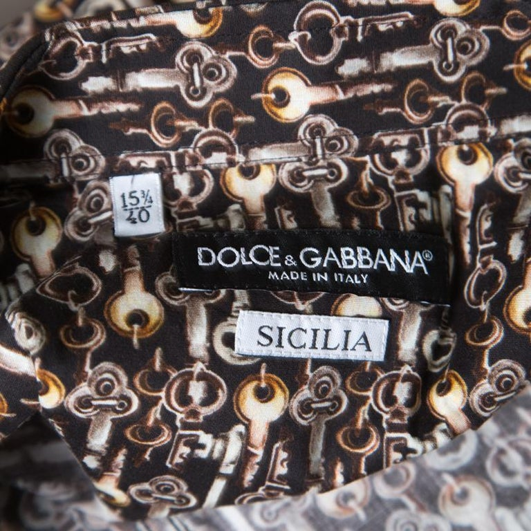Men's Dolce and Gabbana Sicilia Brown Key Printed Long Sleeve Button Front Shirt L For Sale